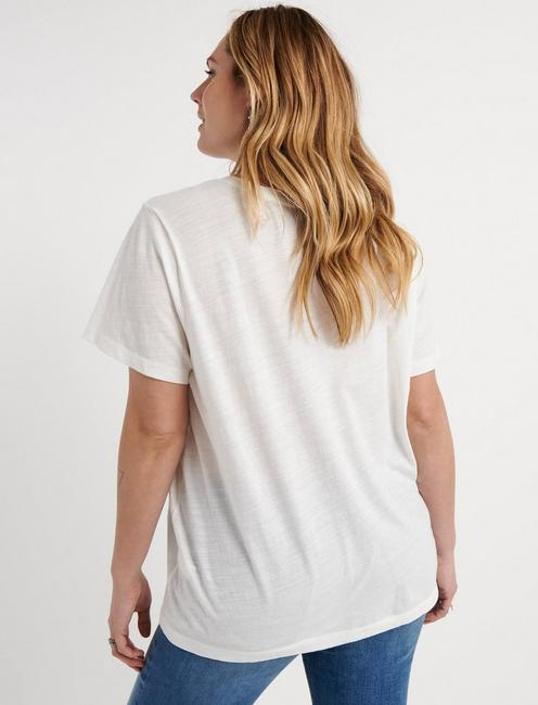 BOUQUET V NECK TEE, MARSHMALLOW