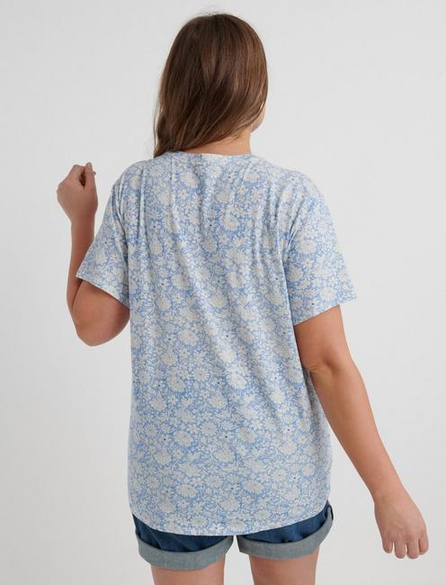 ALL OVER FLORAL TEE, BLUE MULTI