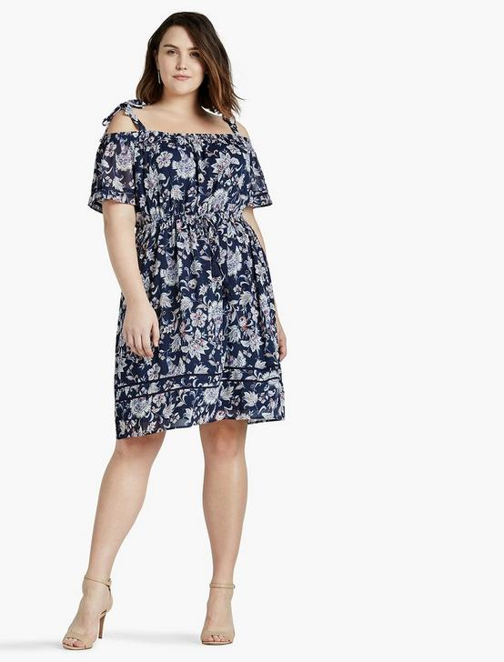 COLD SHOULDER DRESS, NAVY MULTI, productTileDesktop