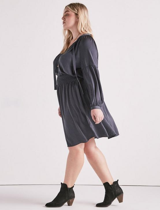 DROP WAIST DRESS, GUNMETAL, productTileDesktop