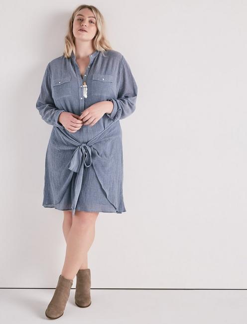 CHAMBRAY TIE SHIRT DRESS, #458 BLUE