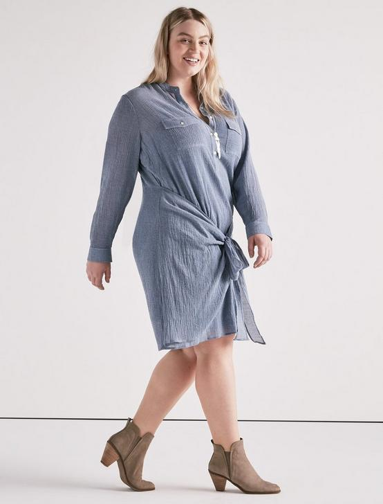 CHAMBRAY TIE SHIRT DRESS, #458 BLUE, productTileDesktop