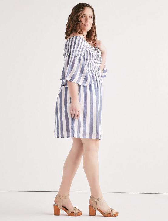 STRIPE SMOCKED DRESS, BLUE MULTI, productTileDesktop