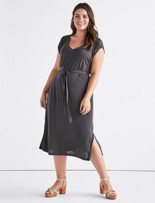 BUTTON SLEEVE SANDWASH DRESS, 001 LUCKY BLACK