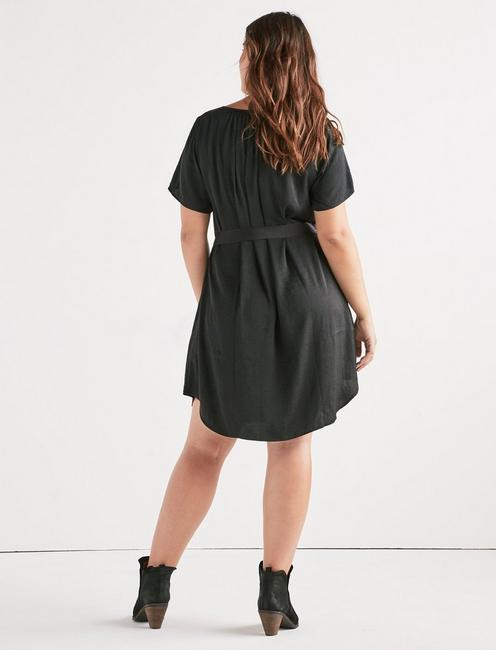 WASHED SATIN SHIFT DRESS, 001 LUCKY BLACK