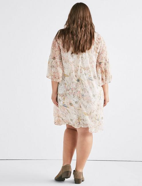 PRINTED BELL SLEEVE DRESS, NATURAL MULTI