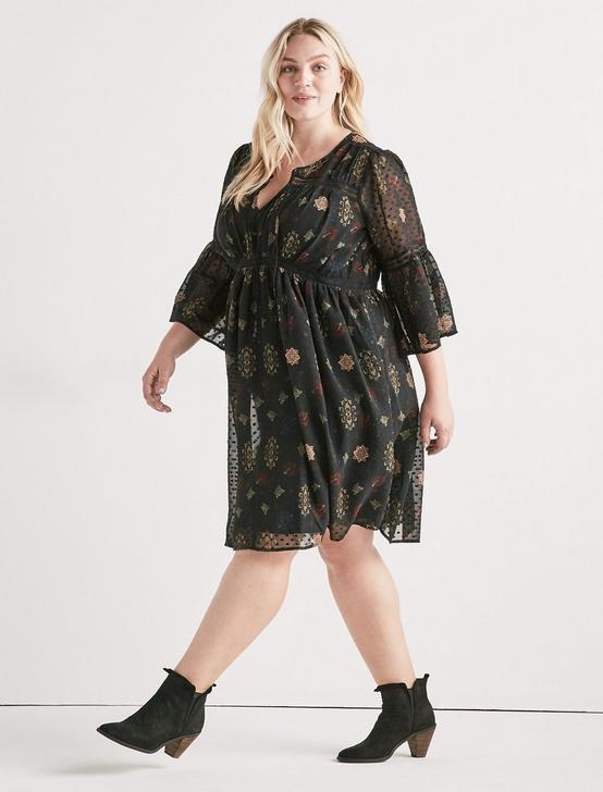 SWISS DOT FLORAL DRESS, BLACK MULTI, productTileDesktop