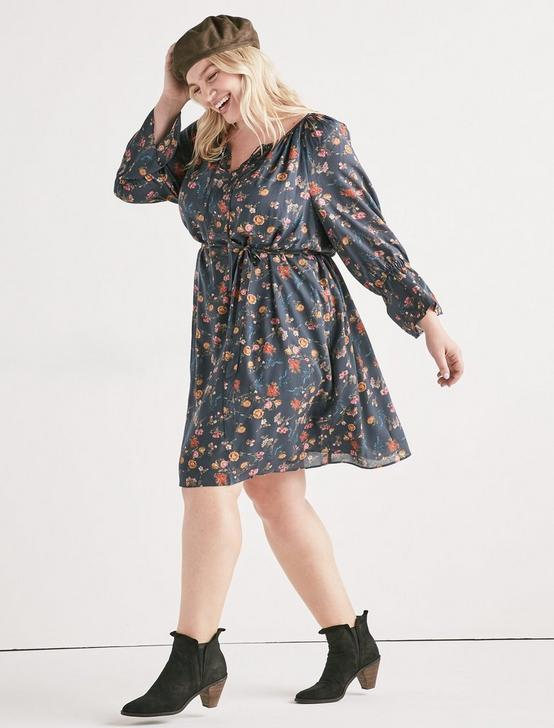 PRINTED BELL SLEEVE DRESS, MULTI, productTileDesktop