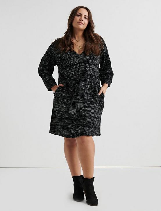 KNIT SHIFT DRESS, BLACK MULTI, productTileDesktop