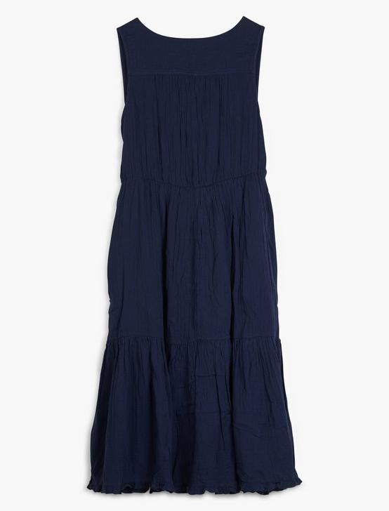 COTTON GAUZE DRESS, AMERICAN NAVY, productTileDesktop