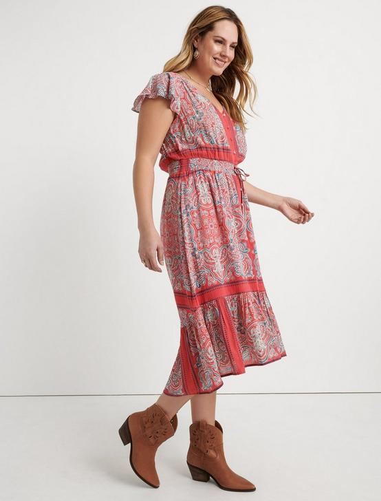 BORDER PRINT FELICE DRESS, RED MULTI, productTileDesktop