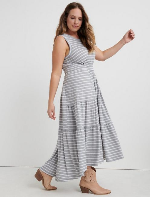 RUCHED MAXI DRESS, GREY STRIPE