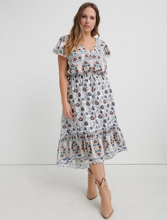 PRINTED FELICE DRESS, NATURAL MULTI, productTileDesktop
