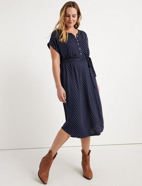 KNIT HENLEY DRESS, BLUE MULTI