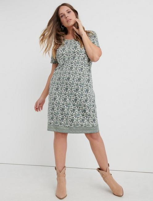 WOODBLOCK PRINT T-SHIRT DRESS,