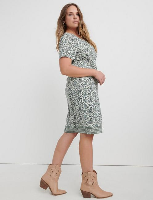 WOODBLOCK PRINT T-SHIRT DRESS, GREEN MULTI