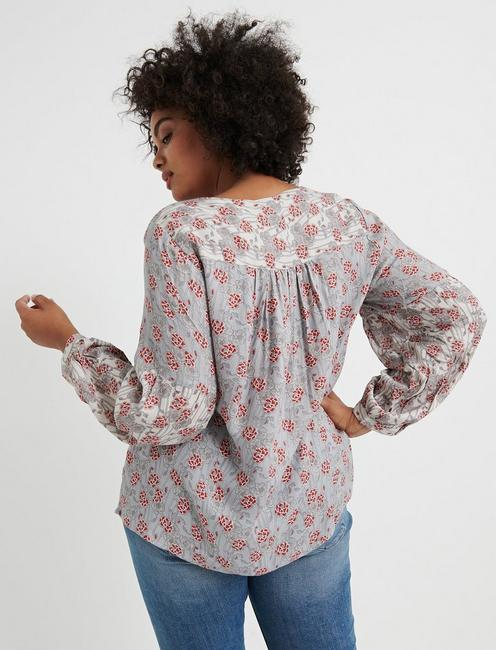 MIXED FLORAL TOP, GREY MULTI