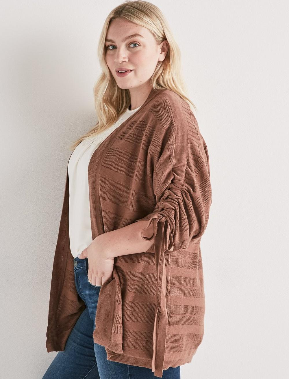 STRIPED CINCHED SLEEVE CARDIGAN, image 1