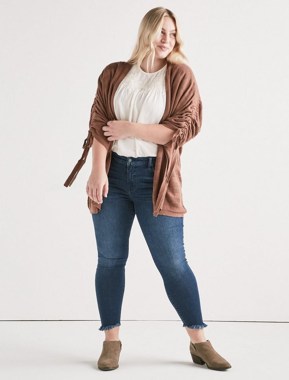 STRIPED CINCHED SLEEVE CARDIGAN, image 2