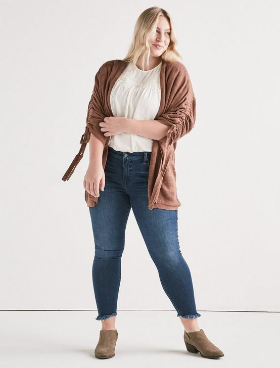 STRIPED CINCHED SLEEVE CARDIGAN, ACORN, productTileDesktop