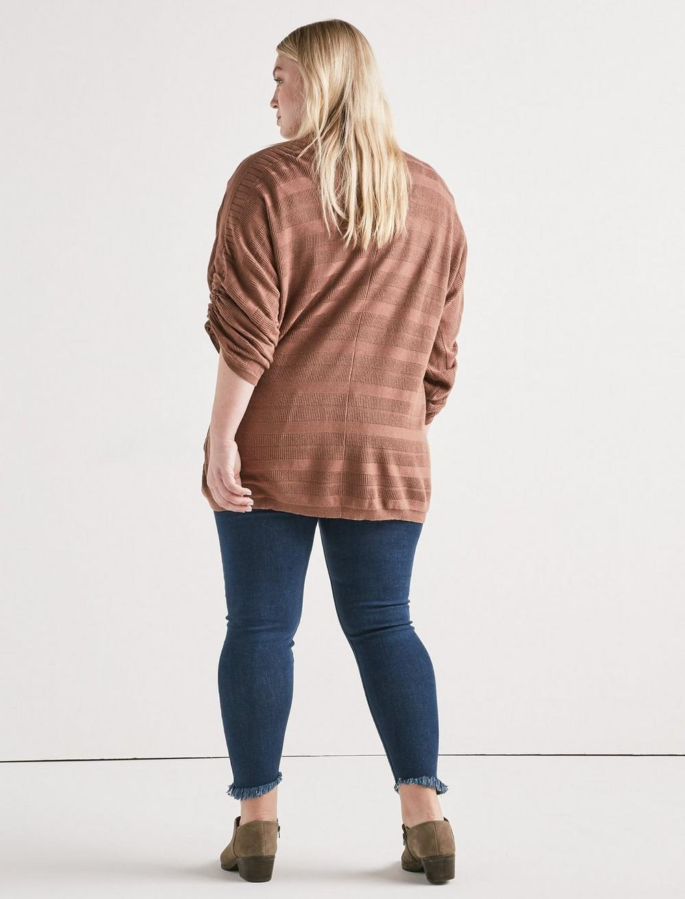 STRIPED CINCHED SLEEVE CARDIGAN, image 3