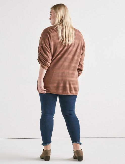 STRIPED CINCHED SLEEVE CARDIGAN, ACORN
