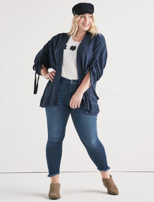 STRIPED CINCHED SLEEVE CARDIGAN, AMERICAN NAVY
