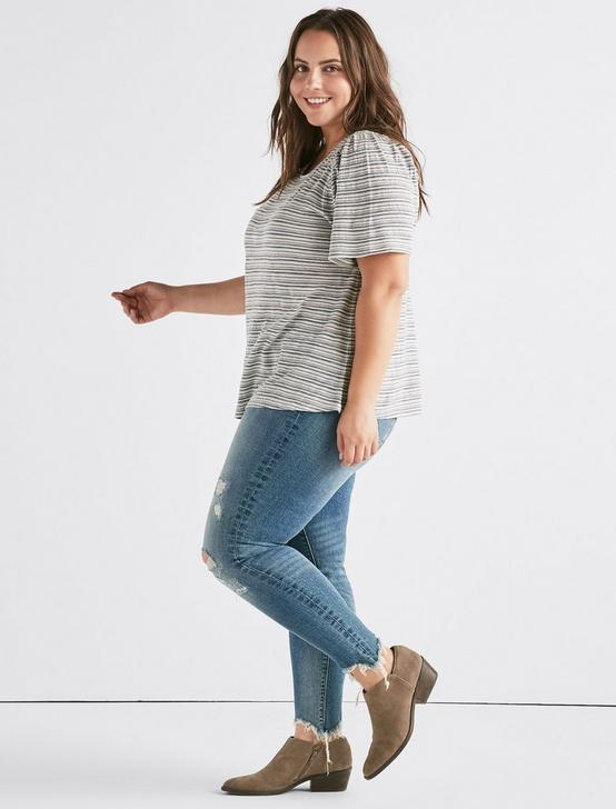 442726eac5463 Plus Size Tops · Lucky Stripe Puff Sleeve Top Lucky Stripe Puff Sleeve Top