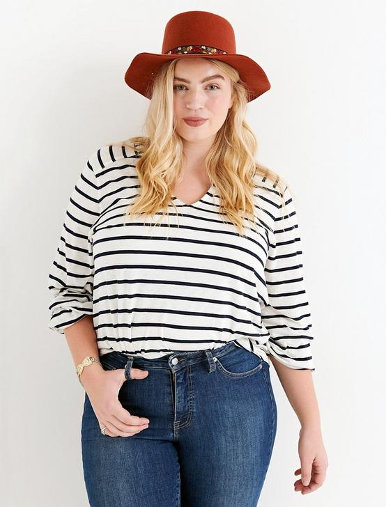 STRIPE BLOUSON SLEEVE TOP, BLUE STRIPE, productTileDesktop