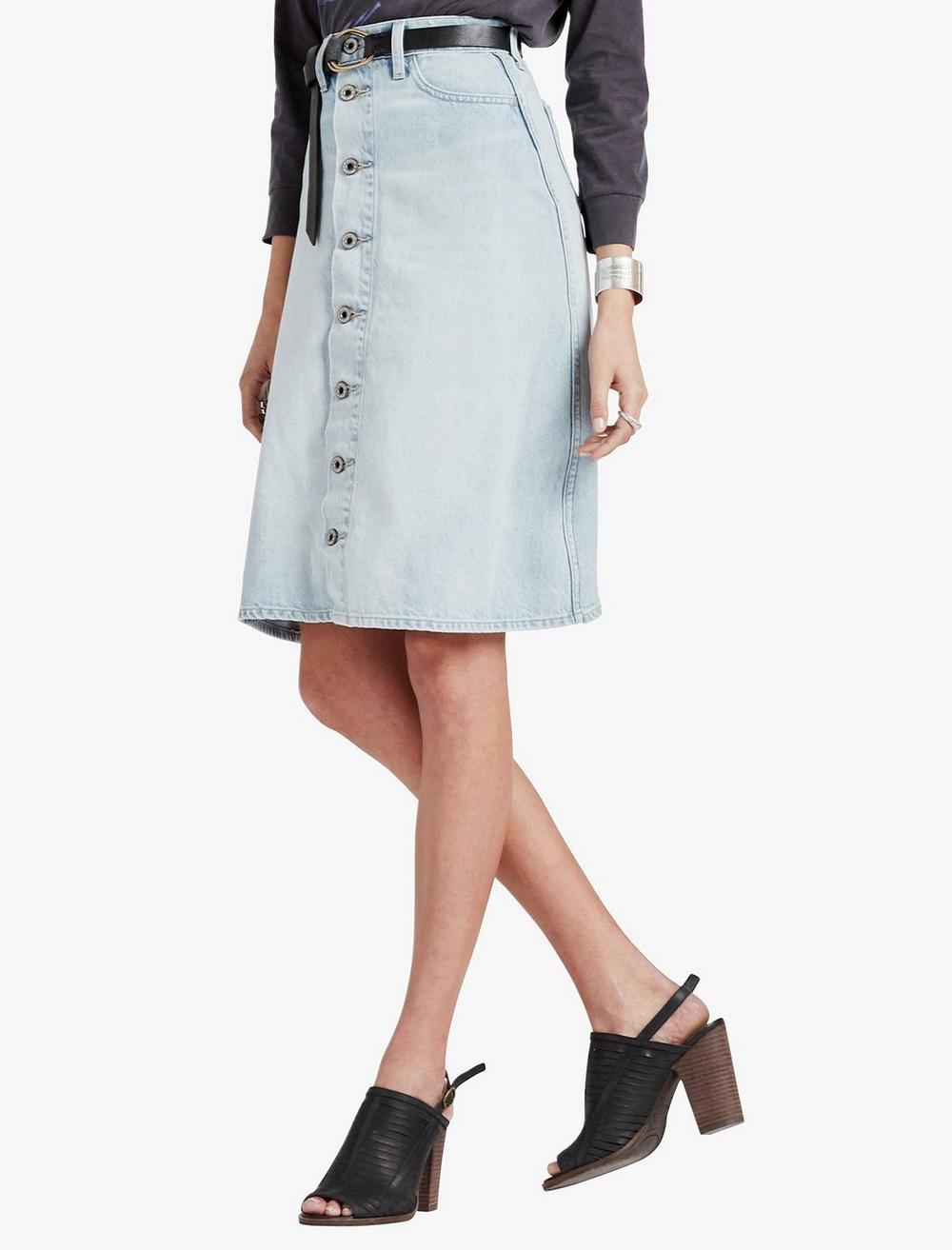 HIGH RISE BUTTON FRONT SKIRT, image 1