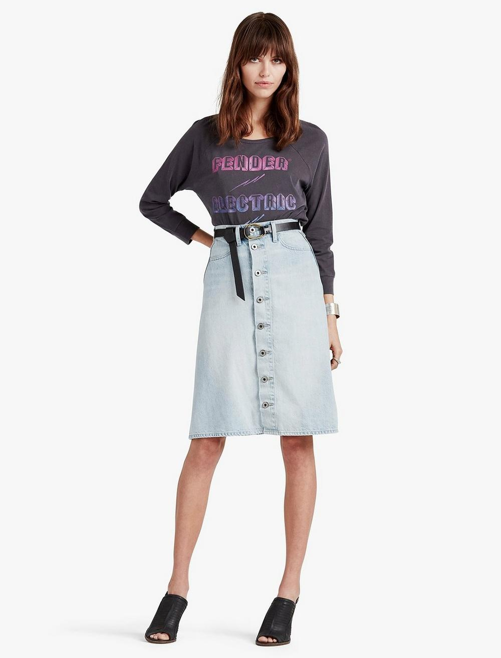 HIGH RISE BUTTON FRONT SKIRT, image 2