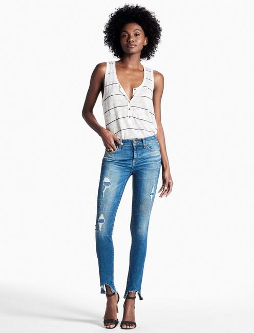 AVA MID RISE SKINNY JEAN WITH CHEWED HEM, SOUTH LAKE
