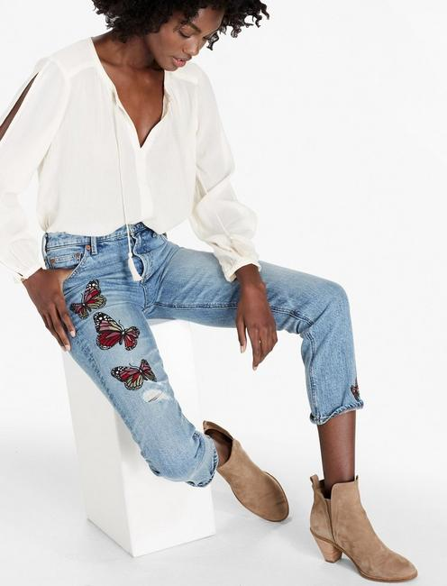 BRIDGETTE HIGH RISE SLIM STRAIGHT JEAN WITH EMBROIDERY,