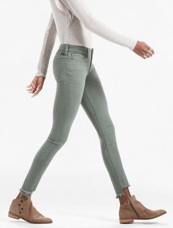 AVA MID RISE SKINNY JEAN, STEP FRAY DUCK GREEN, productTileDesktop