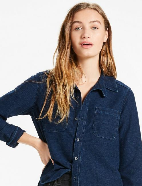 DARK KNIT DENIM SHIRT,