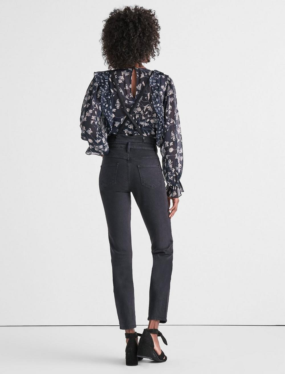 BRIDGETTE HIGH RISE SKINNY JEANS WITH SUSPENDERS, image 3