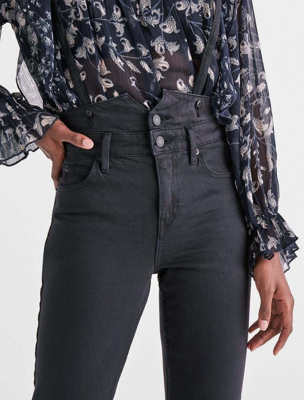 BRIDGETTE HIGH RISE SKINNY JEANS WITH SUSPENDERS, image 4