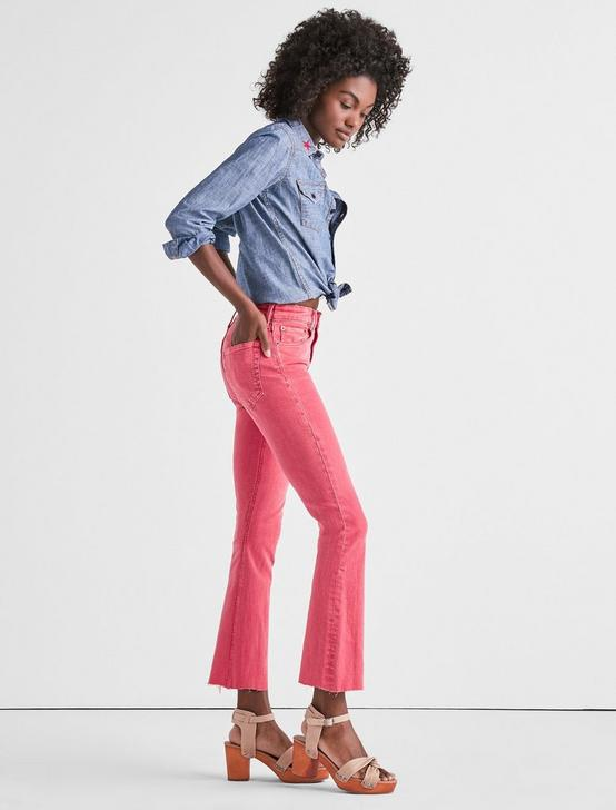 BRIDGETTE HIGH RISE MINI BOOT JEAN IN PRETTY PINK FRAY, PRETTY PINK-FRAY, productTileDesktop