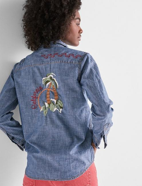 DENIM WESTERN SHIRT WITH EMBROIDERY,