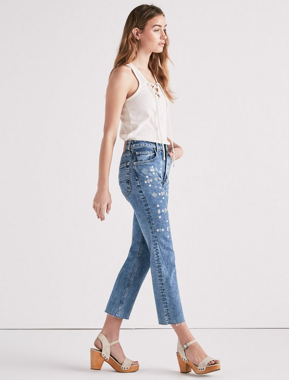 LUCKY PINS HIGH RISE CROPPED JEAN WITH EMBROIDERY, image 1