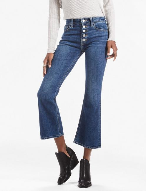BRIDGETTE CROP FLARE JEAN WITH EXPOSED BUTTON FLY,