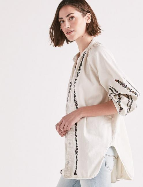 SHIRRED BUTTON FRONT SHIRT WITH EMBROIDERY,