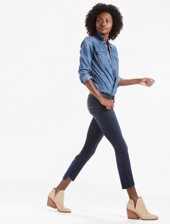 LOLITA MID RISE CROPPED BOOTCUT JEAN WITH ASYMMETRICAL STEP, SAND HILL-STEP, productTileDesktop