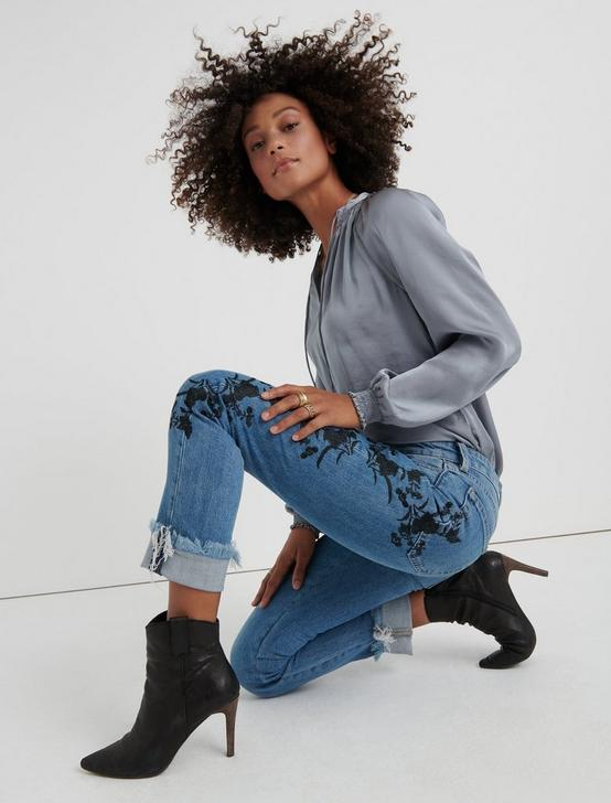 SIENNA SLIM BOYFRIEND with Embroidery, AMERICAN BLUE -CL, productTileDesktop