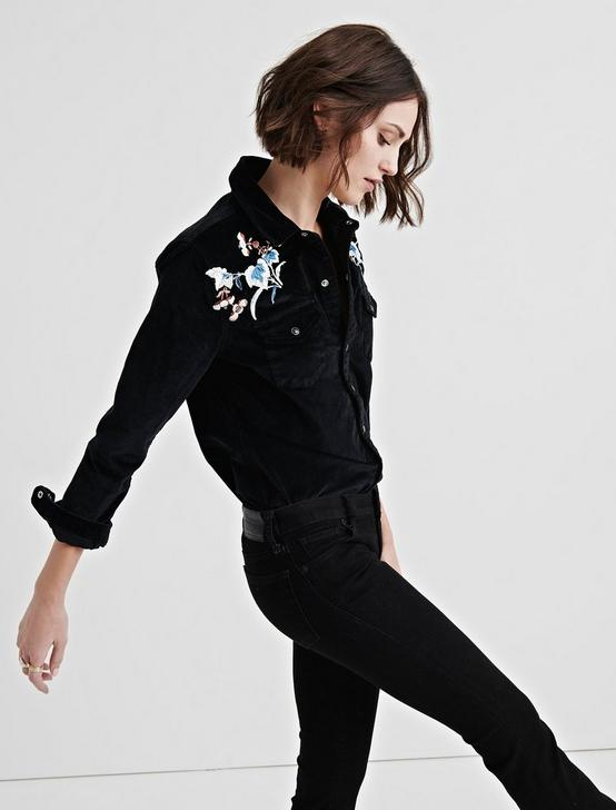 WESTERN SHIRT WITH EMBROIDERY, LUCKY BLACK #001, productTileDesktop