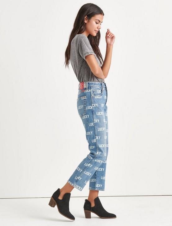 Totally Lucky Lucky Pins Allover Printed Taper Jean, NINETIES BLUE, productTileDesktop