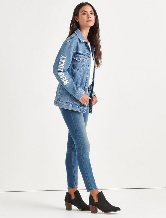 Totally Lucky Boyfriend Trucker Jacket, OH SNAP!, productTileDesktop