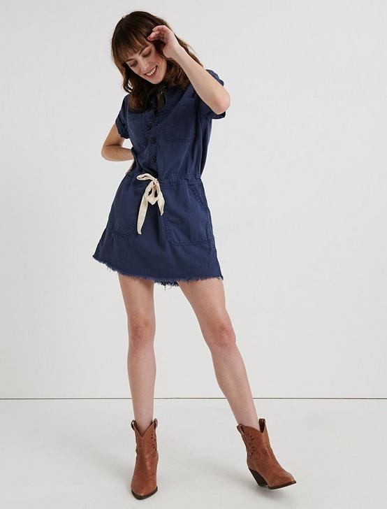 DRAWSTRING DRESS, PERFECTLY WORN BLUE, productTileDesktop