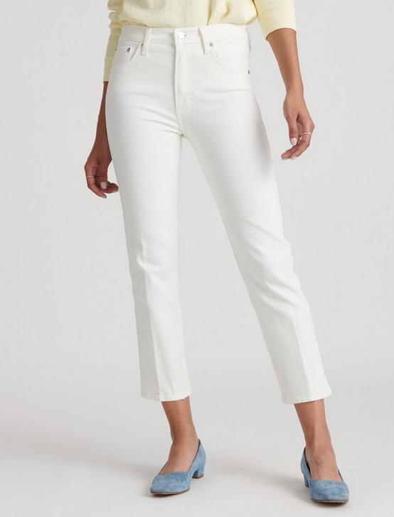 MID RISE AUTHENTIC STRAIGHT CROP JEAN, SUMMER WHITE, productTileDesktop
