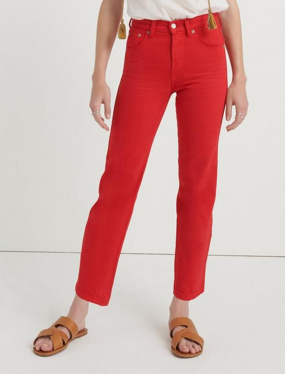 MID RISE AUTHENTIC STRAIGHT CROP JEAN, RED, productTileDesktop